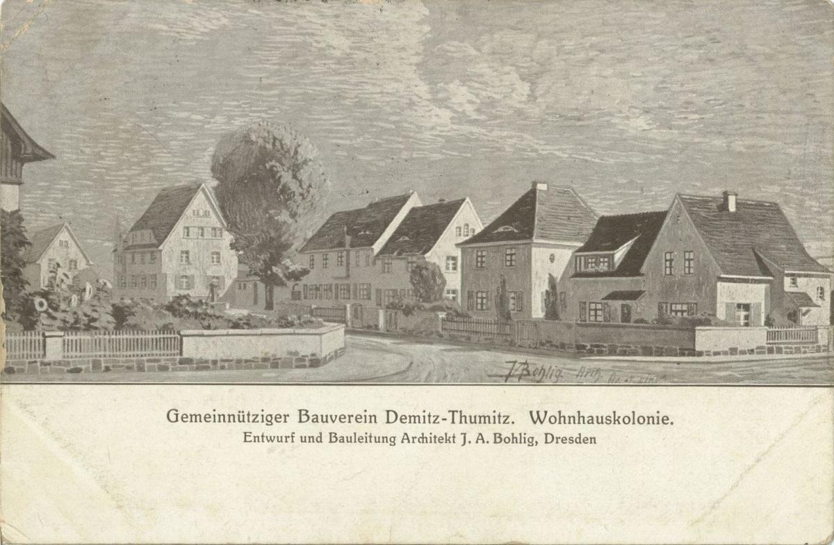 Alter Bauverein (Heinrich-Heine-Straße) Architektenzeichnung von 1913.