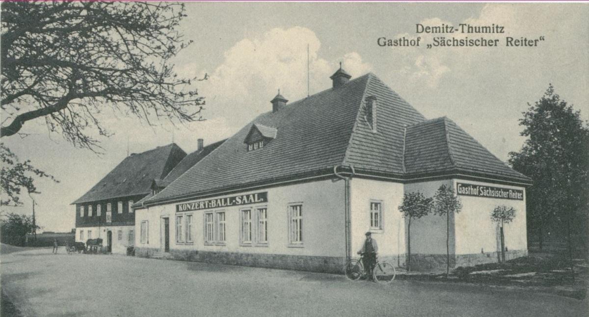 Gasthof Sächsischer Reiter im Ortsteil Wölkau um 1915.