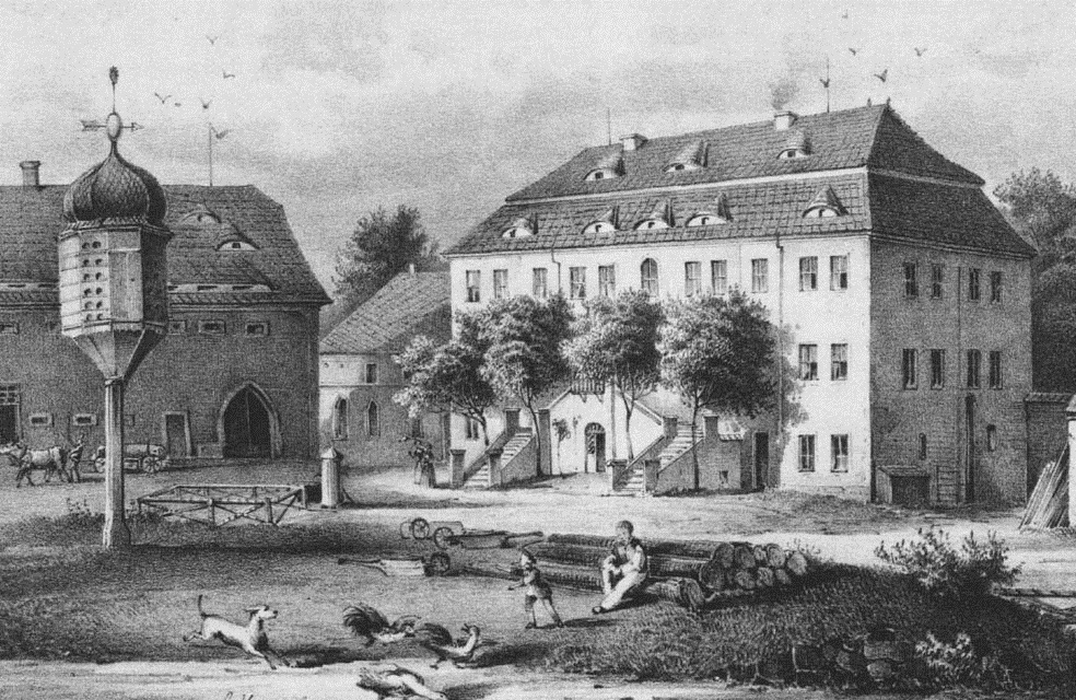 Schloss Rothnaußlitz (das Taubenhaus gibt es noch) vor 1860.