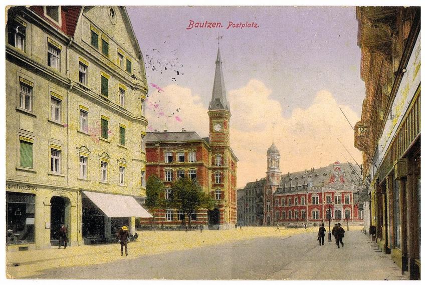 Postplatz in Bautzen. Blick aus Goschwitzstraße. Postkarte von 1914.